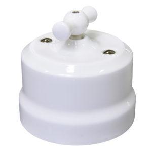 Ретро выключатель одинарный поворотный проходной белый Lindas