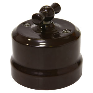 Выключатель одинарный керамика поворотный коричневый