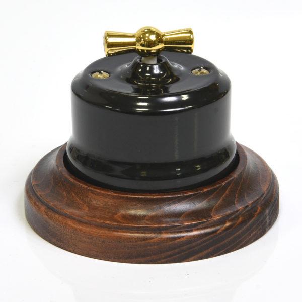 34015 Ретро выключатель Линдас черный в рамке