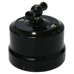Выключатель одинарный поворотный черная керамика