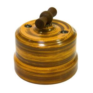 Выключатель одинарный поворотный керамика декор бамбук