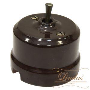 Тумблерный выключатель коричневая керамика ручка бронза