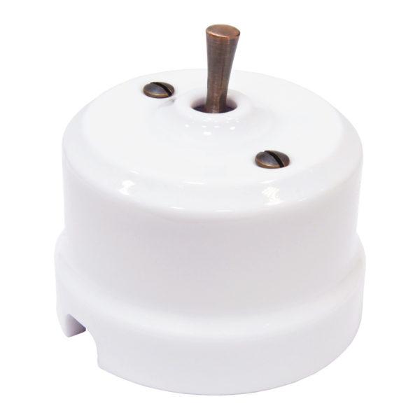 Выключатель перекрестный тумблерный ручка медь