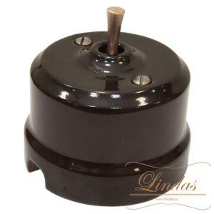 Тумблерный перекрестный выключатель коричневая керамика ручка медь