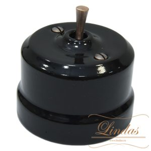 Перекрестный тумблер черная керамика ручка медь