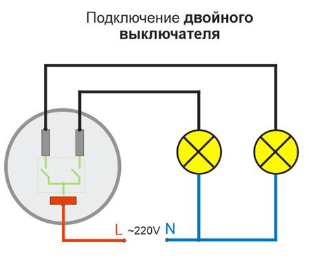 Схема подключения двойного (2-кл) ретро выключателя Lindas