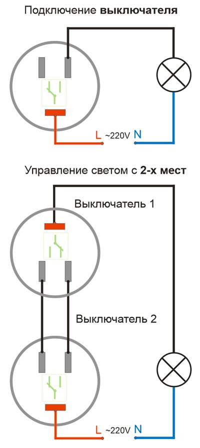 Схемы подключения выключателя