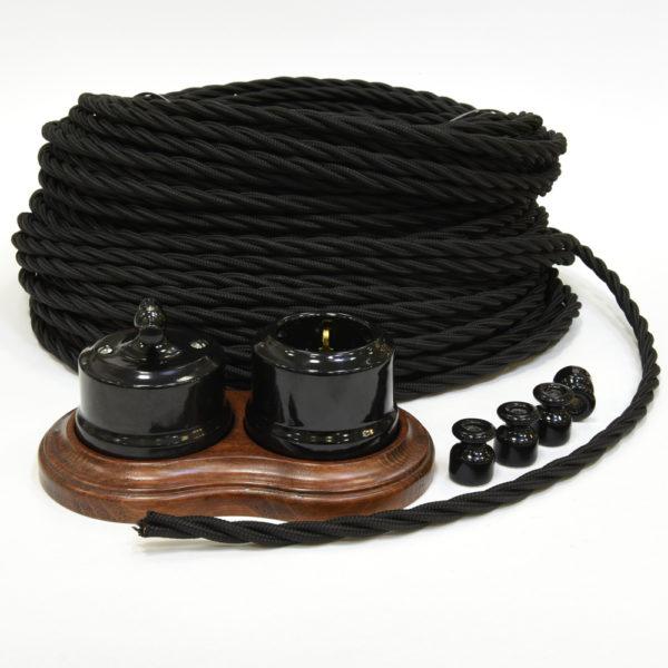 Ретро проводка Линдас - черная керамика с черным проводом