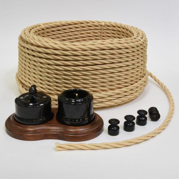 Ретро проводка Линдас - черная керамика с проводом песочное золото