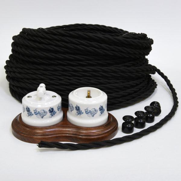 Керамика гжель и черный ретро провод