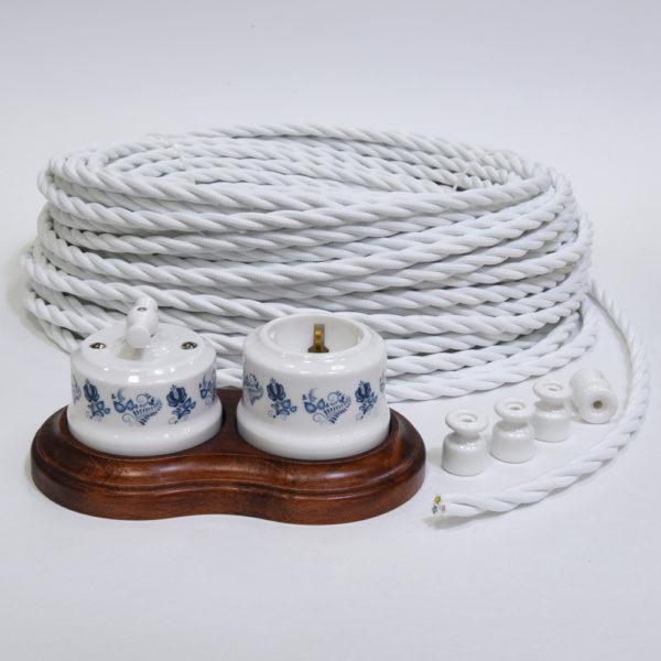 Керамика с орнаментом гжель и белый ретро провод