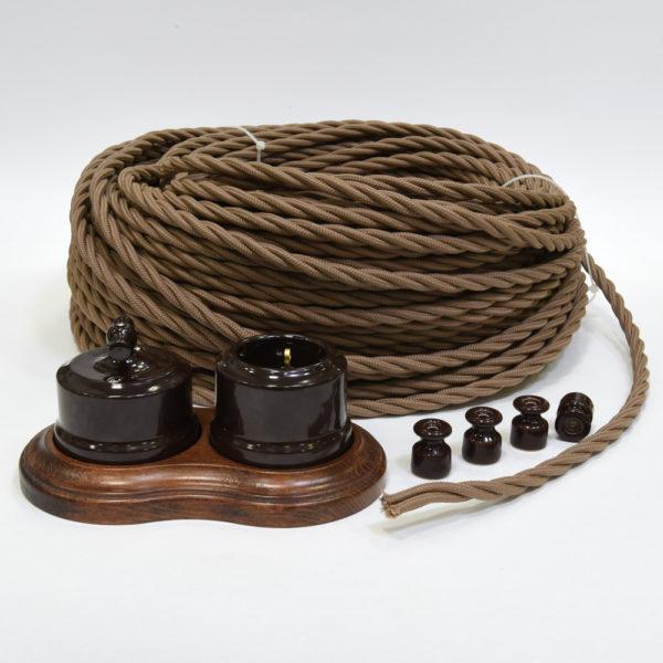 Ретро проводка Lindas - коричневая керамика и бежевый провод