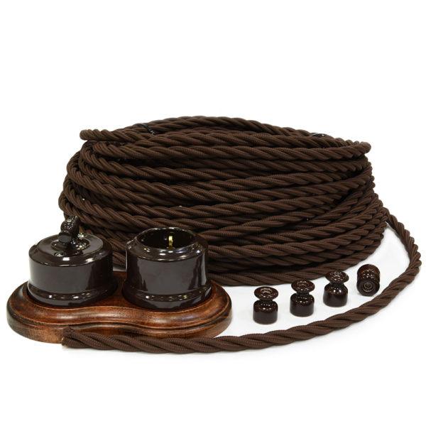 Ретро проводка Линдас коричневая керамика с проводом