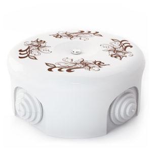 Соединительная керамическая коробка 90 mm орнамент 1 коричневый lindas