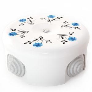 Соединительная керамическая коробка 90 mm орнамент 2 васильки lindas