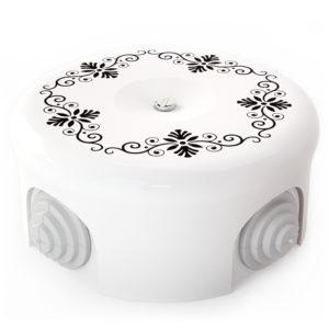Соединительная керамическая коробка 90 mm орнамент 4 черный lindas